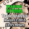 Trading For Pennies Strategy Trade Analysis for Mar 11 2015 – 15.5% Return