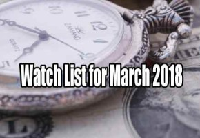 Watch List of Trades for March 2018