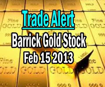 Barrick Gold Stock (ABX) Trade Alert – Feb 15 2013