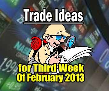 Trade Ideas For Third Week Of February 2013