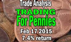 Trading For Pennies Strategy Trade Analysis for Feb 17 2015 - 7.4% Return