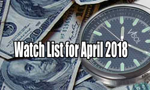Watch List of Trades for April 2018