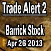 Barrick Gold Stock (ABX) Second Trade Apr 26 2013
