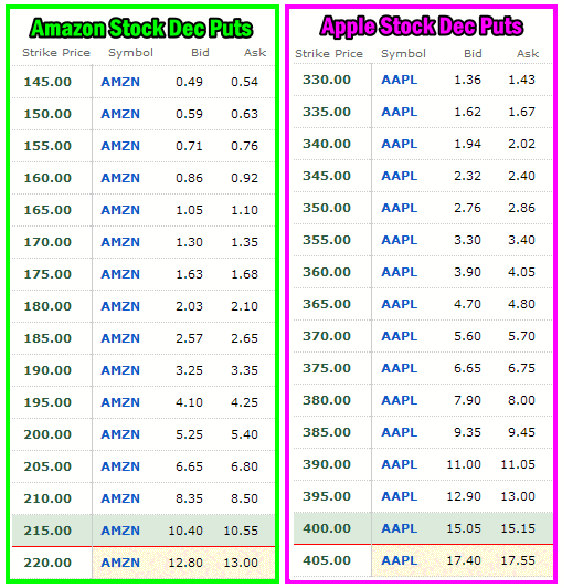 Amazon Stock VS Apple Stock Put Option Premiums