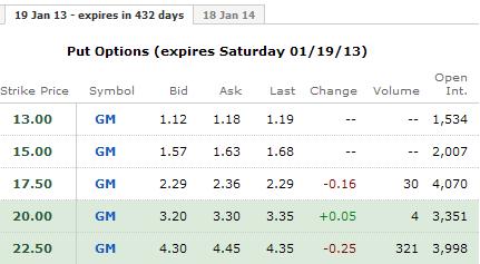 GM Stock puts